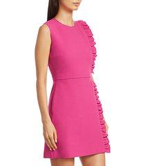 sleeveless side ruffle crepe mini dress