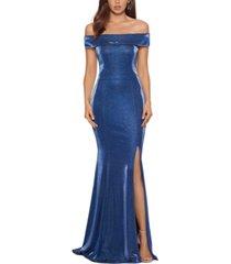 xscape metallic off-the-shoulder gown