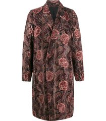 ann demeulemeester long sleeve paisley pattern coat - red