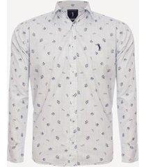 camisa aleatory estampada manga longa leafy masculina