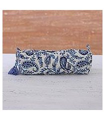 cotton cosmetic bag, 'sky blue paisleys' (india)
