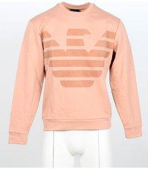 emporio armani designer sweatshirts, salmon pink eagle print cotton men's sweatshirt