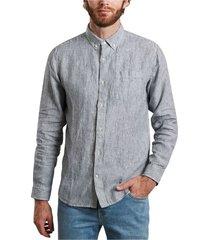 larch organic linen striped shirt