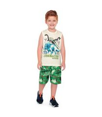 conjunto infantil menino dinosaurs marfim - fakini forfun