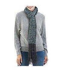 100% alpaca scarf, 'night sea' (peru)