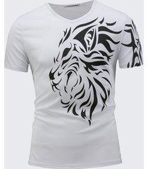 t-shirt casual a manica corta con scollo a v con scollo t-shirt uomo con stampa 3d lion