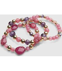 lane bryant women's faceted stone stretch bracelet set onesz purple