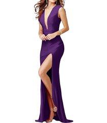 dislax deep v-neck side slit evening prom party dresses purple us 18plus