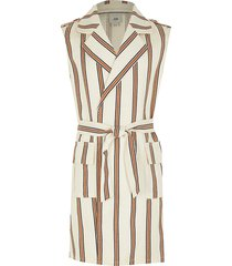 river island girls cream stripe sleeveless belted trench