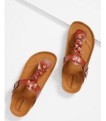 maurices womens lauren cognac braided strap sandal brown