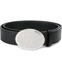 fendi karligraphy oval buckle belt - black
