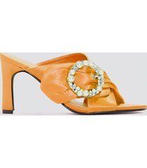 na-kd shoes embellished heeled mule sandals - orange