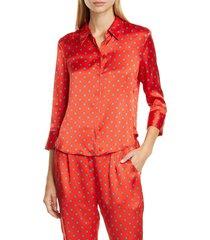 women's l'agence jil print silk satin blouse, size x-large - red