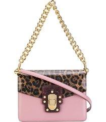 dolce & gabbana lucia leopard print shoulder bag - pink