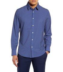 mizzen+main leeward trim fit button-up performance shirt, size xx-large in navy geo dot print at nordstrom