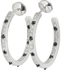 cartier pre-owned 18kt white gold panther diamond hoop earrings