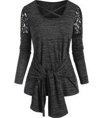 lace insert crisscross belted heather t-shirt
