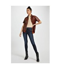 calca jeans basic skinny midi resina gloss jeans - 34