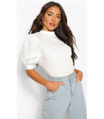 cotton poplin open back blouse, white