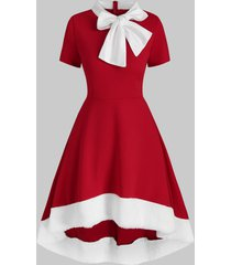 christmas bowknot collar faux fur insert high low dress