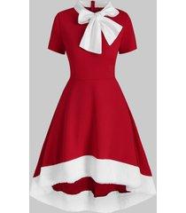 christmas bowknot collar faux fur insert high low dress