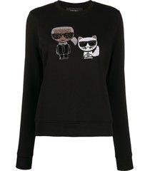 karl lagerfeld ikonik crystal sweatshirt - black