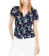 maison jules floral-print split-sleeve top, created for macy's