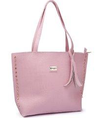 bolsa gouveia costa  tote shopper grande alça dupla dia a dia rosa