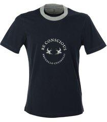 brunello cucinelli cotton jersey slim fit t-shirt with print and contrast neckline cobalt
