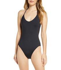 women's la blanca halter one-piece swimsuit, size 14 - black
