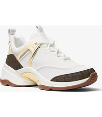 mk sneaker sparks in tela con logo - bianco ottico cangiante (bianco) - michael kors
