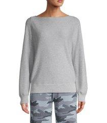 vince women's waffle-knit cotton sweater - malachite - size s