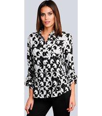 blouse alba moda offwhite::zwart::taupe