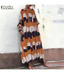 zanzea mujeres flora beach vestido de las señoras de la manga del batwing maxi largo vestidos más el tamaño -naranja
