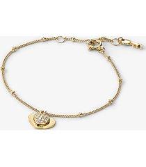 mk bracciale a forma di cuore in argento sterling con placcatura in metallo prezioso e pavé - oro (oro) - michael kors