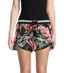 dkny women's dizzy tropics mesh print dolphin shorts - black multi - size xs