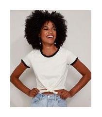 blusa feminina básica com amarração manga curta decote redondo branca