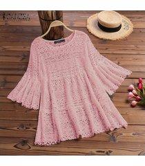 zanzea camisa de mujer con mangas de campana tops detalle de encaje blusas ahuecadas blusa de ganchillo suelta -rosado