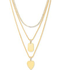 "steve madden gold-tone crystal heart layered pendant necklace, 16"" + 3"" extender"