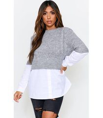 cable knit sweater, grey
