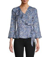 ava & aiden women's paisley wrap top - blue multicolor - size s