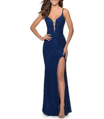 la femme lace mermaid gown, size 0regular in navy at nordstrom