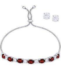 simulated garnet slider bracelet & cubic zirconia stud earrings set in fine silver-plate, january birthstone