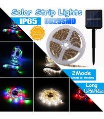 media / 3m ip65 3825smd modos impermeable led de cadena tira de la luz de la lámpara fairy + panel de batería solar - negro