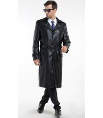 men leather coat winter long  leather coat genuine real leather trench coat-uk46