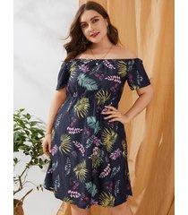 vestido de manga corta tropical con hombros descubiertos y talla grande azul marino
