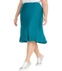 i.n.c. plus size bias-cut midi skirt, created for macy's