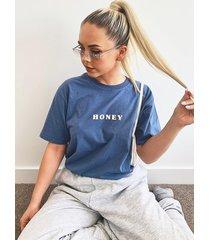 honey slogan t-shirt, indigo