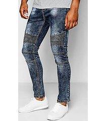 charcoal acid wash spray on skinny biker jeans
