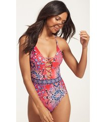 free spirit lace up one-piece swimsuit